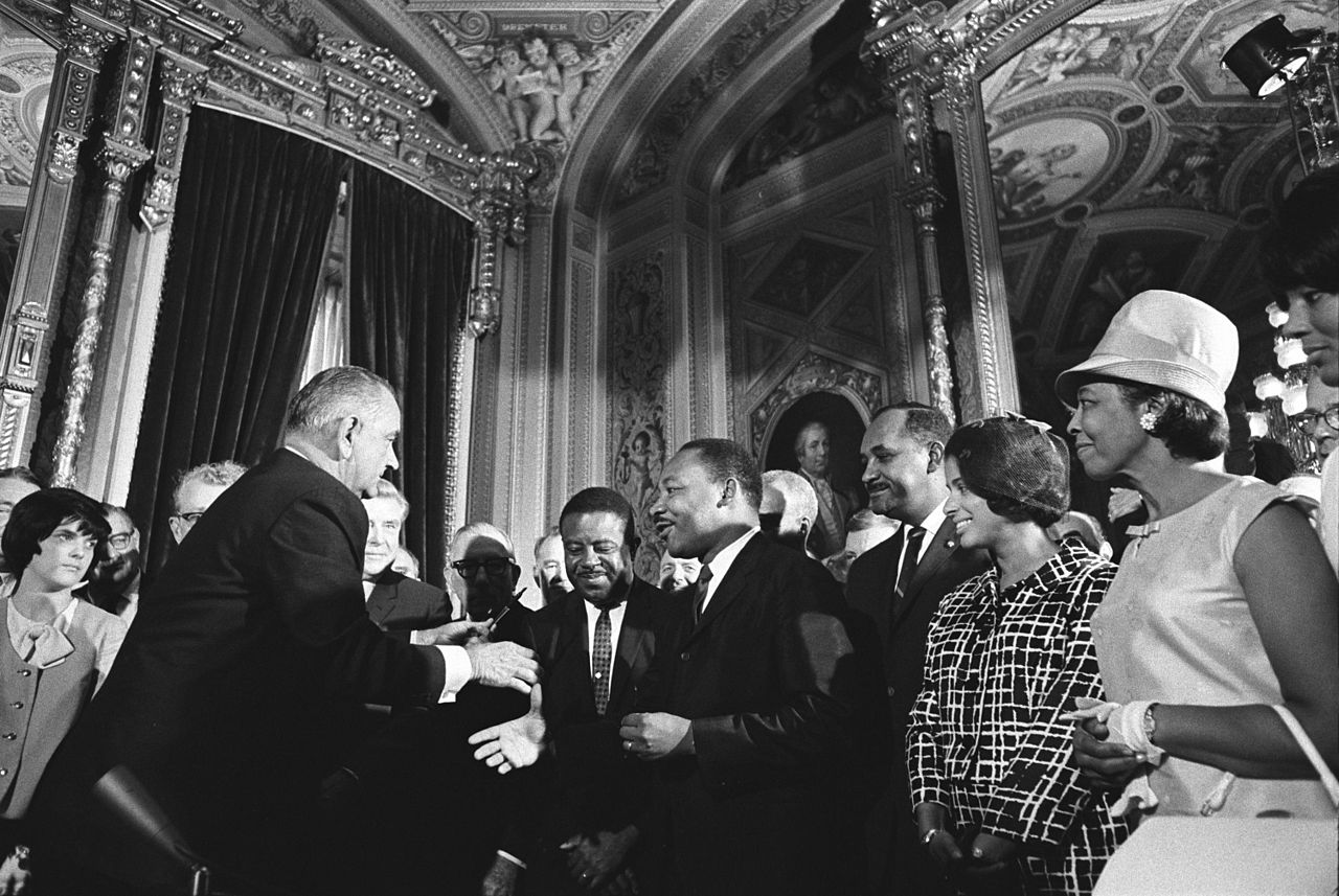 Lyndon Johnson and Martin Luther King Jr. Shaking Hands